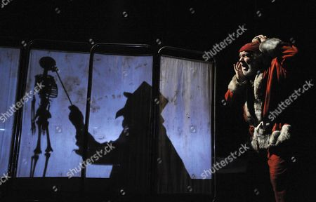 Stock Picture of 'Down by the Greenwood Side' -  Julian Forsyth (Dr Blood) and Pip Donaghy (Father Christmas)