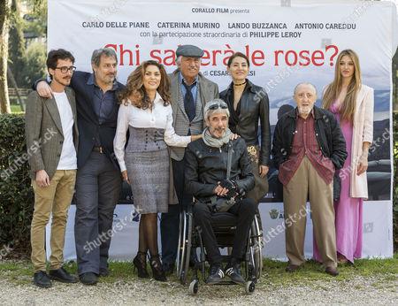 Cast including left to right Antonio Careddu, 3rd L, Eleonora Vallone, Lando Buzzanca, Caterina Murino, Carlo Delle Piane and far right Guenda Goria
