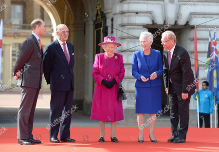 Stock Image of Prince Edward, Prince Philip, Queen Elizabeth II, Louise Martin, President of the Commonwealth Games Federation and Peter Beattie, Gold Coast Commonwealth Games Organizing Committee at the launch of The Queen's Baton Relay