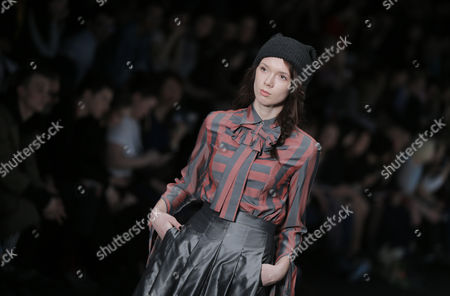 Stock Picture of A model presents a creation by Russian designer Yuliya Ivanova during the 2017/2018 Fall/Winter Mercedes-Benz Fashion Week Russia in Moscow, Russia, 13 March 2017. The event runs from 12 to 17 March.