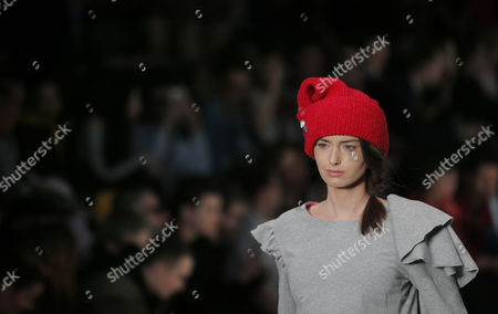 Stock Photo of A model presents a creation by Russian designer Yuliya Ivanova during the 2017/2018 Fall/Winter Mercedes-Benz Fashion Week Russia in Moscow, Russia, 13 March 2017. The event runs from 12 to 17 March.