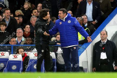 Manchester United Assistant Manager, Rui Faria exchanges words with Chelsea Assistant Manager, Angelo Alessio during Chelsea vs Manchester United, Emirates FA Cup Football at Stamford Bridge on 13th March 2017