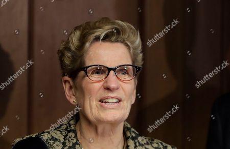 Ontario Premier Kathleen Wynne address the media, in Detroit