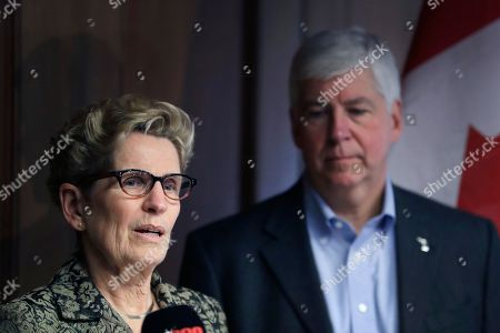 Rick Snyder, Kathleen Wynne Ontario Premier Kathleen Wynne and Michigan Gov. Rick Snyder address the media, in Detroit. Snyder and Wynne stressed that they want their voices heard as President Donald Trump demands a negotiation of trade policies between the United States, Mexico and Canada