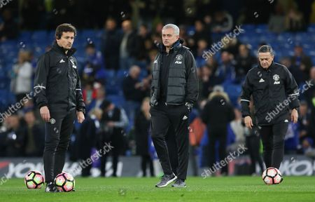 Rui Faria Assistant Manager of Manchester United and Jose Mourinho Manager of Manchester United Manager in warm up during the The FA Cup quarter-final match between Chelsea and Manchester United at Stamford Bridge, London