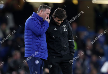 Chelsea coach Steve Holland chats with Manchester United coach Rui Faria before the Emirates FA Cup quarter final match between Chelsea and Manchester United played at Stamford Bridge, London, on 13th March 2017