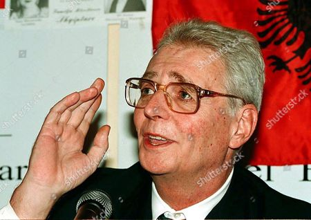 Albania's Exiled King Leka i Gestures During a Press Conference Shortly After His Arrival to the Albanian Capital 12 April the Heir to the Throne Returned to His Homeland Receiving a Raptuous Welcome From a Crowd of Well Wishers who Had Gathered at the Capital's Airport Leka is Only the Second Generation of Albana's Shortlived Royal Family His Father Ahmet Zog Declared Himself King in 1928 Shortly After Seizing Power in a Coup when He was Minister of Interior Albania Tirana