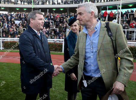 JT McNamara National Hunt Amateur Riders Steeplechase . Trainer Gordon Elliott and Michael O'Leary celebrate after Tiger Roll ridden by Lisa O'Neill wins the JT McNamara National Hunt amateur riders Steeplechase