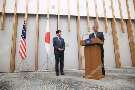 John Boehner, Shinzo Abe Former U.S. House Speaker John Boehner, left, speaks upon being awarded a decoration medal as Japanese Prime Minister Shinzo Abe stands by during the award ceremony at the prime minister's office in Tokyo