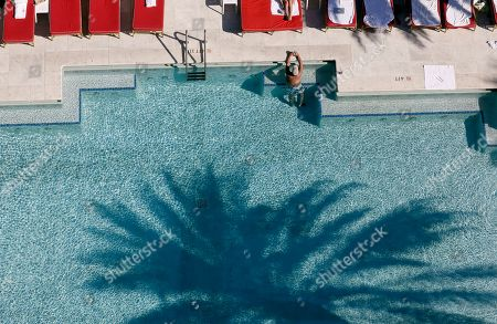 The shadow of a palm tree is shown on the swimming pool at the Faena Hotel in Miami Beach, Fla. The beachfront hotel is the flagship of Faena District, a cluster of buildings developed by Argentine hotel magnate Alan Faena where decaying structures and empty parking lots are giving way to opulent hotels, condos, and a performing arts center