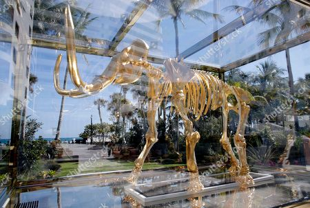 A mammoth skeleton sculpture by artist Damien Hurst is displayed at the Faena Hotel in Miami Beach, Fla. The beachfront hotel is the flagship of Faena District, a cluster of buildings developed by Argentine hotel magnate Alan Faena where decaying structures and empty parking lots are giving way to opulent hotels, condos, and a performing arts center