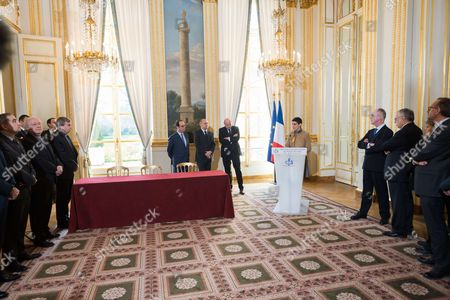 Francois Hollande, French Interior Minister, Bruno Le Roux, French junior minister for Development and Francophony, Jean-Marie Le Guen and Valerie Regnier