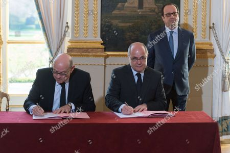 French junior minister for Development and Francophony, Jean-Marie Le Guen, French Interior Minister, Bruno Le Roux and Francois Hollande