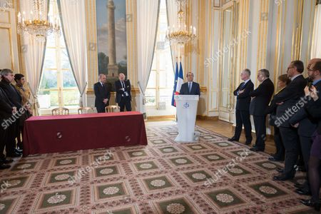 French Interior Minister, Bruno Le Roux, French junior minister for Development and Francophony, Jean-Marie Le Guen and Francois Hollande