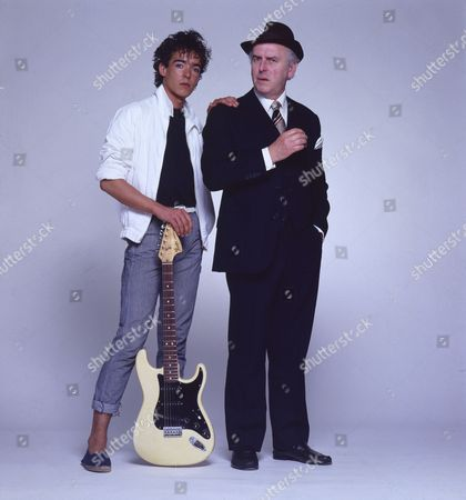 Stock Picture of Studio photoshoot with George Cole and his son Crispin Cole.
