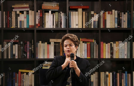 Former Brazilian President Dilma Rousseff speaks during a meeting with journalists at the Jose Saramago foundation in Lisbon . Rousseff is in Lisbon to participate in a conference on Wednesday