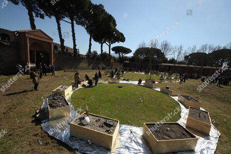 A view of the new version of the 'Terzo Paradiso' (Third Paradise) land art by Italian artist Michelangelo Pistoletto during its presentation in Pompeii, Italy, 14 March 2017. Over 120 initiatives have been planned for National Landscape Day on 14 March across Italy. The day is meant to raise awareness among citizens on issues linked to protection of the landscape. Terzo Paradiso is made out of fragments of Roman amphorae and ceramics bombed in 1943 and an exploration of depiction techniques of antiquity at the Museo Nazionale Romano.
