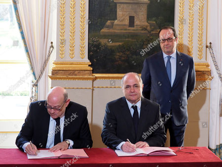 Stock Picture of Bruno Le Roux, Jean-Marie Le Guen and Francois Hollande