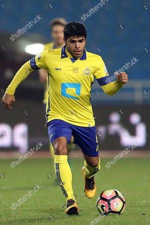 Al-Nassr player Yahya Al-Shehri in action during the Saudi Arabia Professional League soccer match between Al-Raed and Al-Nassr at King Abdullah Sport City Stadium, Buraidah, Saudi Arabia, 14 March 2017.