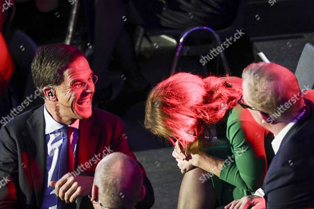 Stock Picture of (L-R) Mark Rutte (VVD), Marianne Thieme (PvdD) and Jan Roos (VNL) at the last TV debate of the NOS in The Hague, The Netherlands, 14 March 2017, a day before the parliamentary elections.
