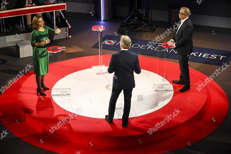 Stock Photo of Marianne Thieme (PvdD) and Jan Roos (VNL) during the last TV debate of the NOS in The Hague, The Netherlands, 14 March 2017, a day before the parliamentary elections.