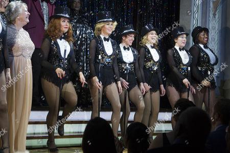 Judith Barker (Mrs Fraser), Tracy-Ann Oberman (Maxine), Amanda Holden (Vera), Anne-Jane Casey (Mavis), Nicola Stephenson (Dorothy), Natalie Casey (Sylvia) and Sandra Marvin (Rose) during the curtain call