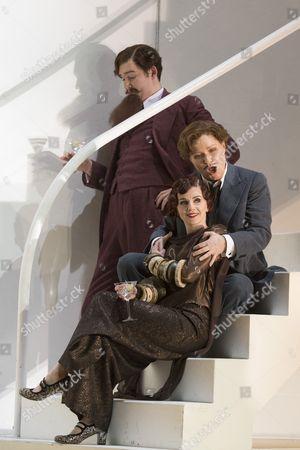 Stock Photo of Matthew Durkan as Ormonte, Sarah Tynan as Partenope, Patricia Bardon as Arsace