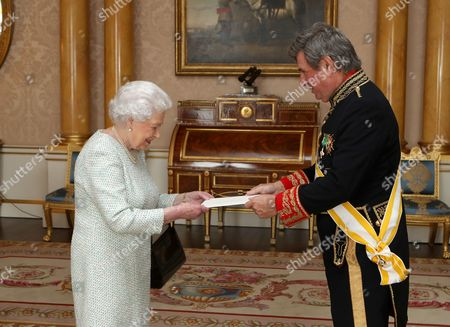 Queen Elizabeth II is presented with Letters of Credence by His Excellency the Ambassador of Spain Carlos Bastarreche, during a private audience with Her Majesty at Buckingham Palace, London