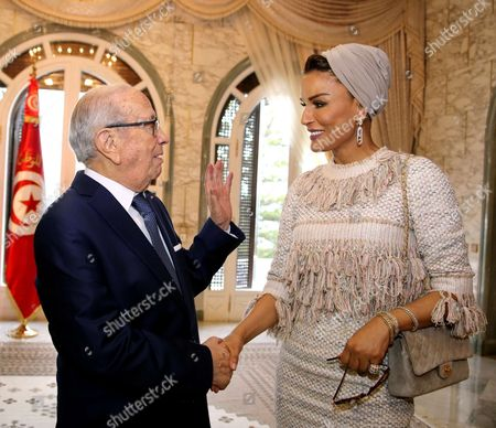 Editorial image of President Beji Caid Essebsi meets with Sheikha Mozah bint Nasser Al Missned at Carthage Palace, Tunis, Tunisia - 14 Mar 2017