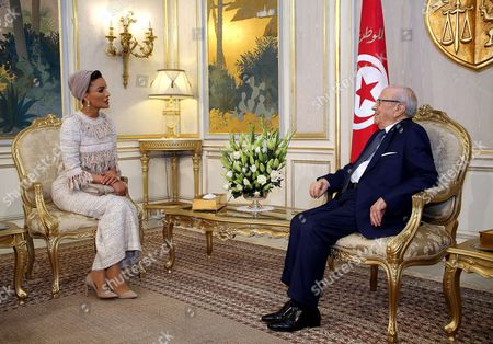 Editorial photo of President Beji Caid Essebsi meets with Sheikha Mozah bint Nasser Al Missned at Carthage Palace, Tunis, Tunisia - 14 Mar 2017