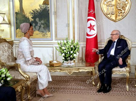 Stock Image of Tunisian President Beji Caid Essebsi meets with Sheikha Mozah Bint Nasser Al Missned