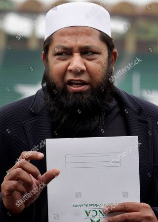Pakistan cricket chief selector Inzamam-ul-Haq speaks during press conference to announce Twenty20 and one-day international squad for upcoming series against West Indies, in Lahore, Pakistan, . Pakistan has recalled veteran Kamran Akmal and Ahmed Shehzad for the Twenty20 and one-day international series against the West Indies. The four-match T20 series begins from March 26 at Barbados while the three ODIs will be played at Guyana in between Apr. 7-11