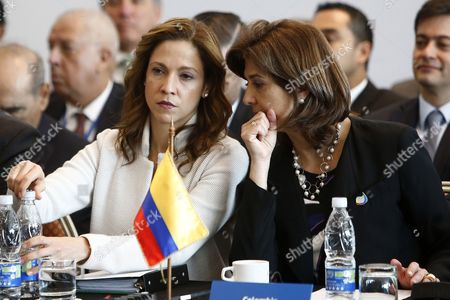 Stock Picture of Colombian Foreign Minister Maria Angela Holguin (R) and Minister of Commerce, Industry and Tourism of Colombia, Maria Claudia Lacouture (L), attend a Ministerial Meeting in Vina del Mar, Chile, 15 March 2017. The high-level meeting of the countries signatory to the Trans-Pacific Economic Cooperation Agreement (TPP), also attended by China, was held to decide on the future of this treaty after the US decision to withdraw from it.