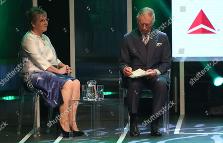 Dame Martina Milburn, Chief Executive of The Prince's Trust and Prince Charles on stage during the Prince's Trust Celebrate Success Awards