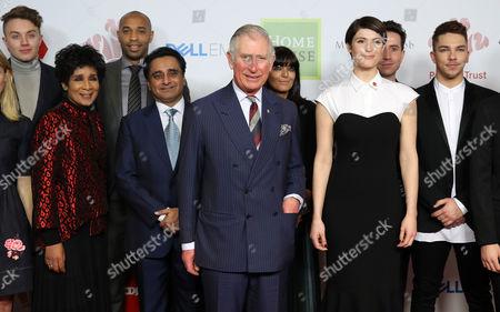 Prince Charles (C) and (L-R) Roman Kemp, Moira Stuart, Thierry Henry, Sanjeev Bhaskar, Claudia Winkleman, Gemma Arterton, Nick Grimshaw and Matt Terry attend the Prince's Trust Celebrate Success Awards
