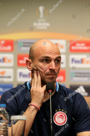 Olympiacos' midfielder Esteban Cambiasso attends a press conference at Besiktas Vodafone Arena Stadium, in Istanbul, Turkey, 15 March 2017. Olympiacos will face Besiktas Istanbul in the UEFA Europa League, Round of 16, second leg soccer match 16 March 2017.
