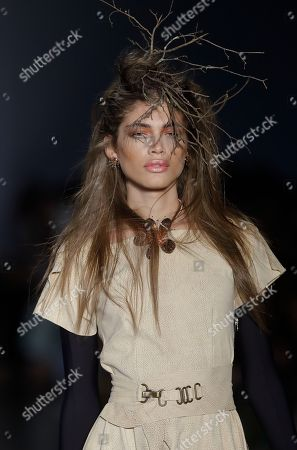 Brazilian transgender model Valentina Sampaio wears a creation from the Isabela Capeto collection during the Sao Paulo Fashion Week in Sao Paulo, Brazil