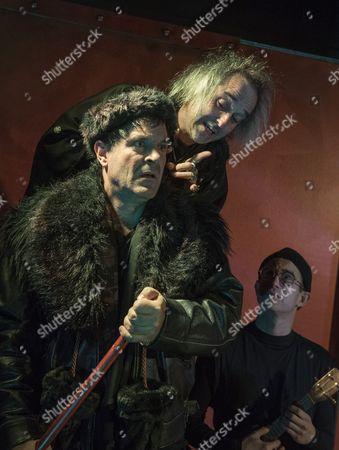 Michael Matus as Dionysos, Jonathan Wadey as Charon, Nigel Pilkington as Shakespeare