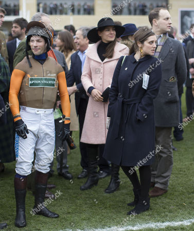(L to R) Jockey Sam Waley-Cohen Annabel Ballin, Sophie Winkleman and Lord Frederick Windsor at the St.Patrick's Thursday meeting at Cheltenham.
