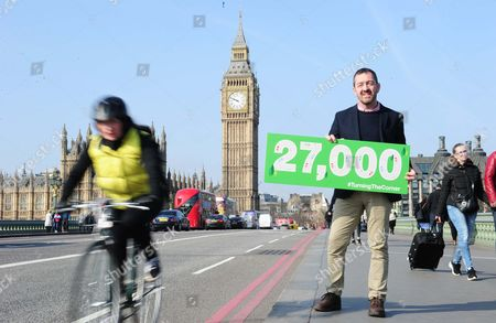 Stock Image of Cycling British Cycling, Turning the Corner petition hand in Westminster, Chris Boardman and Phil Jones  and MP Ruth Cadbury meeting