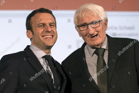 Stock Picture of French politician Emmanuel Macron (L) poses for a picture with German philosopher Juergen Habermas (R) at the Hertie School of Governance in Berlin, Germany, 16 March 2017. Gabriel, Habermas, and Macron - an independent candidate for the upcoming French elections - participate in a discussion titled about the future of Europe.