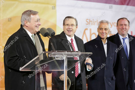 Civic and political leaders, including (LtoR) U.S. Senator Dick Durbin (D-IL), Former U.S. Senator Mark Kirk (R-IL), Mayor Rahm Emanuel and Alderman Brendan Reilly, join leaders from the Rehabilitation Institute of Chicago to unveil its new research hospital, the Shirley Ryan AbilityLab at its ribbon-cutting ceremony, in Chicago. The group joined more than 250 guests at the $550 million, 1.2-million-square-foot Shirley Ryan AbilityLab located at 355 E. Erie Street