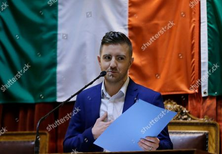 """Billy Gilman, of Richmond, R.I., a runner-up on the NBC TV show """"The Voice"""" reacts as he is honored with a resolution in the House Chambers at the Rhode Island Statehouse, in Providence"""