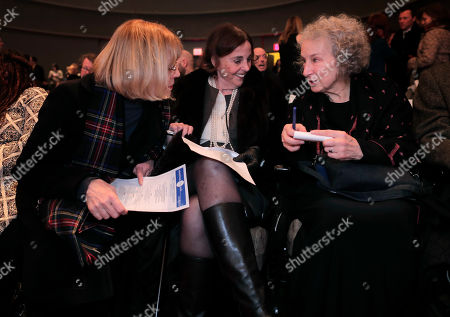 Author Margaret Atwood, right, talks with paperback publisher LuAnn Walther, left, and editor Nan Talese before receiving the Ivan Sandrof Lifetime Achievement Award at the National Book Critics Circle awards ceremony, in New York
