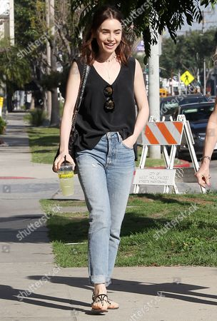 Lily Collins out for lunch