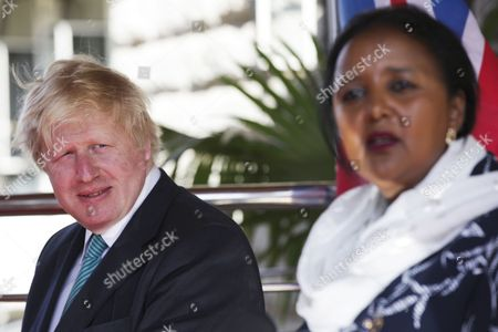 British Secretary of State for Foreign and Commonwealth Affairs, Boris Johnson (L) and Kenyan Foreign Minister Amina Mohamed (R) give a press conference following bilateral talks at the Kenyan Foreign Ministry offices in Nairobi, Kenya, 17 March 2017. Kenya and Britain enjoy long-standing historical ties with close cooperation in key sectors of education, trade and investment, with UK being the largest European foreign investor in Kenya.