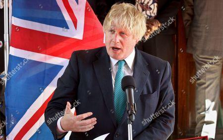 Britain's Foreign Secretary Boris Johnson speaks during a joint news conference with Kenya's Foreign Affairs Cabinet Secretary Amina Mohamed in Nairobi, Kenya . Johnson held bilateral talks in the capital Friday after earlier visiting the British Army Training Unit Kenya (BATUK) near Nanyuki