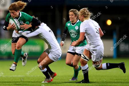 Ireland vs England. Ireland's Jenny Murphy and Emily Scott of England?s