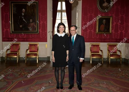 Britain's ambassador to France Lord Ed Llewellyn, and his wife Anna, attend a reception at the British embassy in Paris