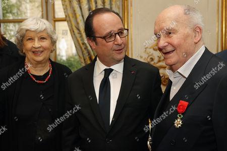 Michel Bouquet, Francois Hollande and Juliette Carre